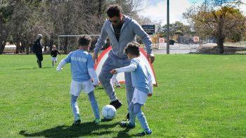 Fraji Family playing Soccer